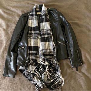 Faux Leather Jacket w/ built in scarf